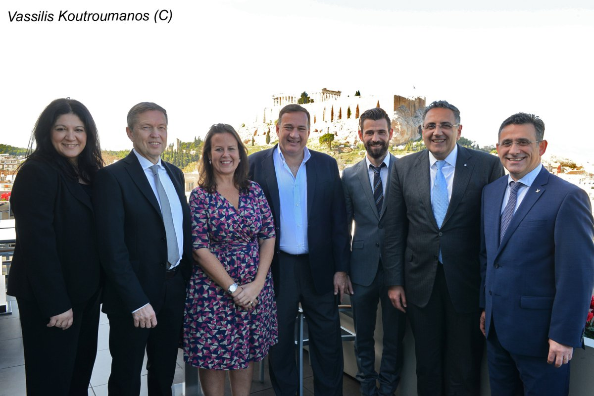 (from left to right) Effie Zikouli, Chairwoman ETU TV & Media Committee, Ingolfur Hannesson, Head of Indoor Sports, Beatriz Pastor Y Puga, Senior Sports Rights Manager, Spyros Capralos, President Hellenic Olympic Committee, Michail Mouroutsos, Gold Olympic Medalist, Michail Fysentzidis, ETU Secretary General, Sakis Pragalos, ETU President