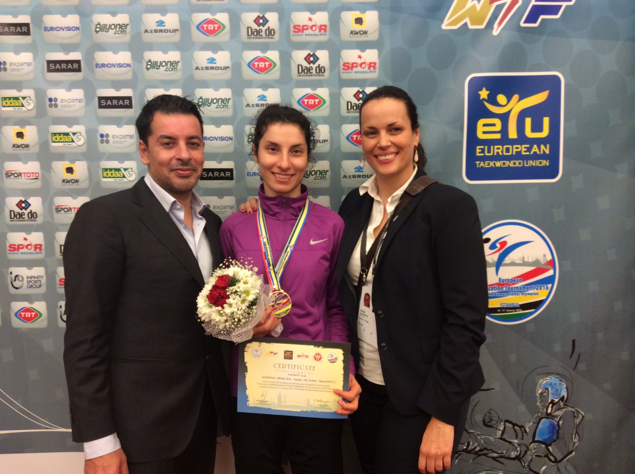 Raheleh with Coach Karim Dighou and Performance Director Laurence Rase