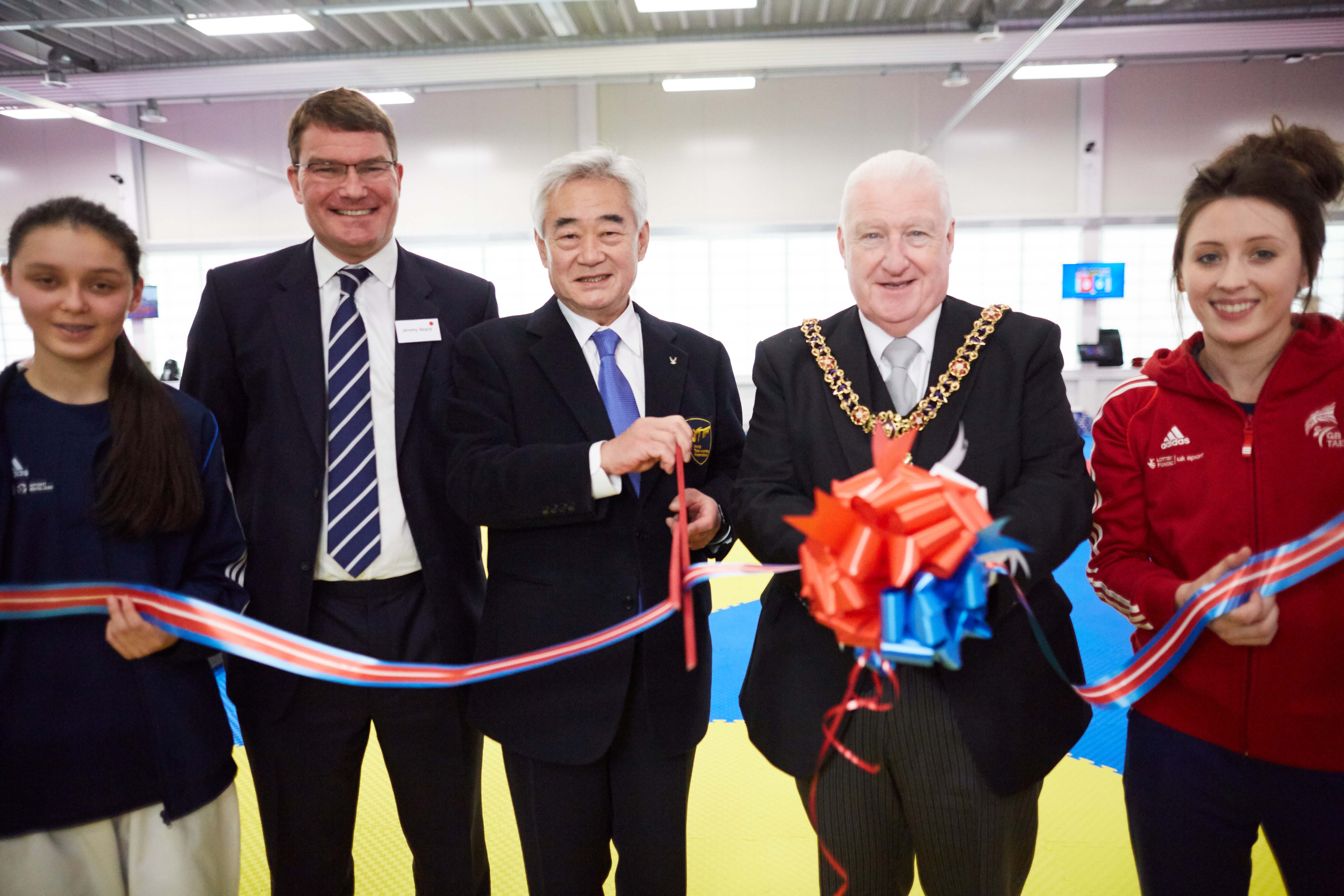 National Taekwondo Centre in Manchester official opening of the new Centre after a £3m transformation. Pictured Chungwon Choue, President of the World Taekwondo Federation opens the new centre