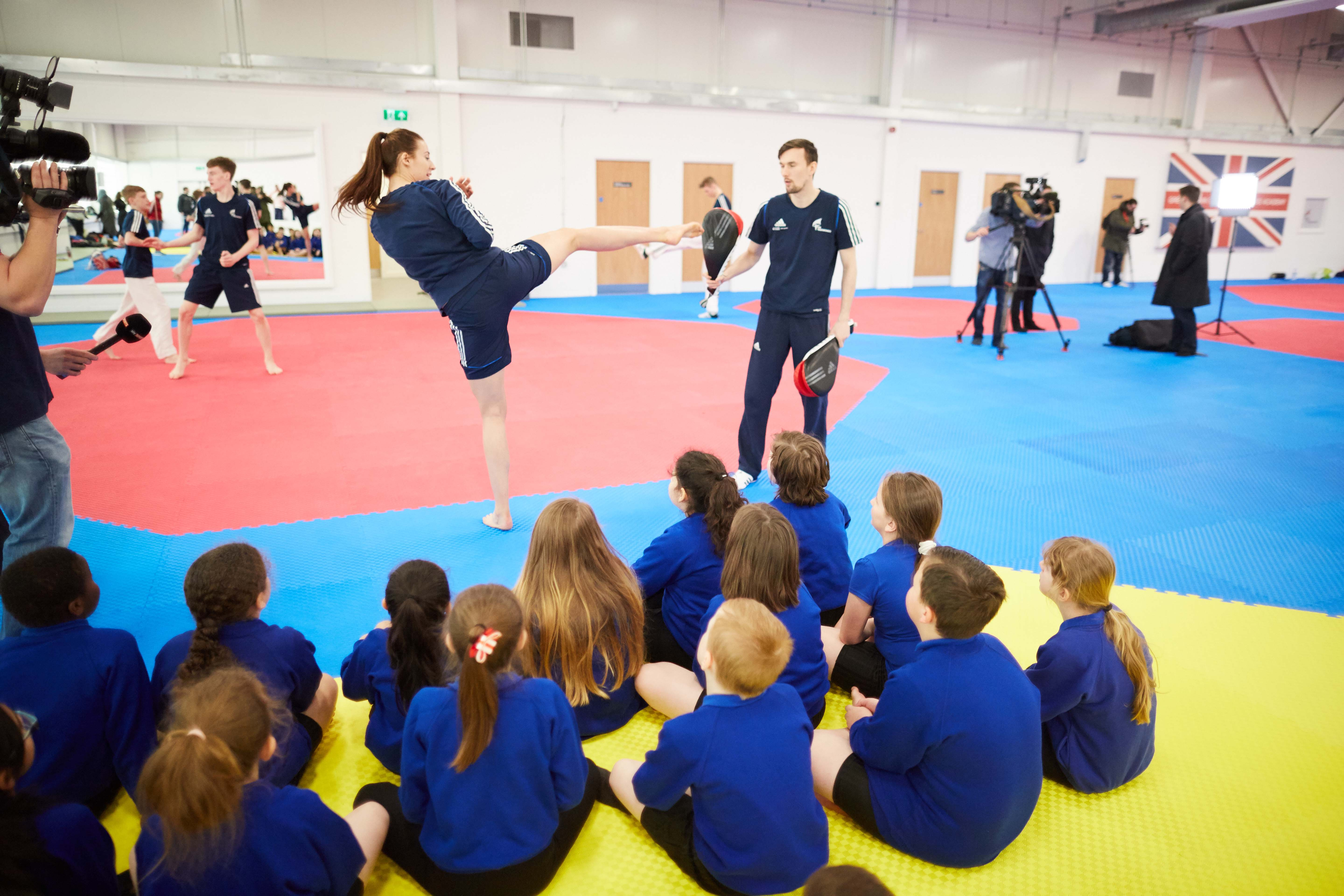 National Taekwondo Centre in Manchester official opening of the new Centre after a £3m transformation. Pictured children watching the experts