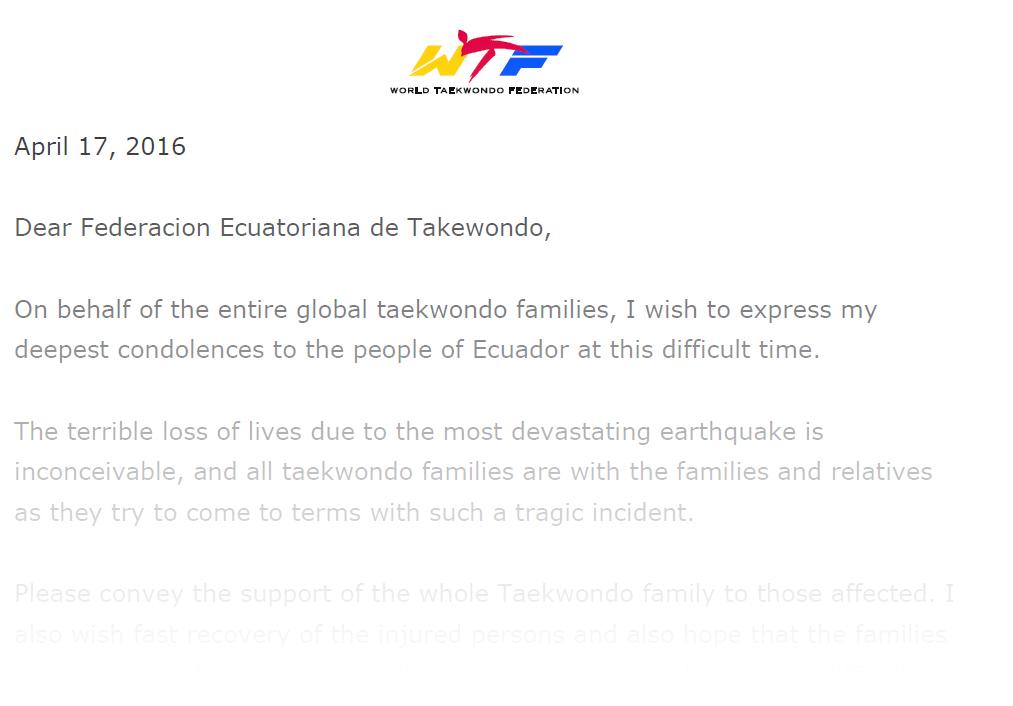 Condolence Letter on the Occasion of Earthquake in Ecuador - World ...