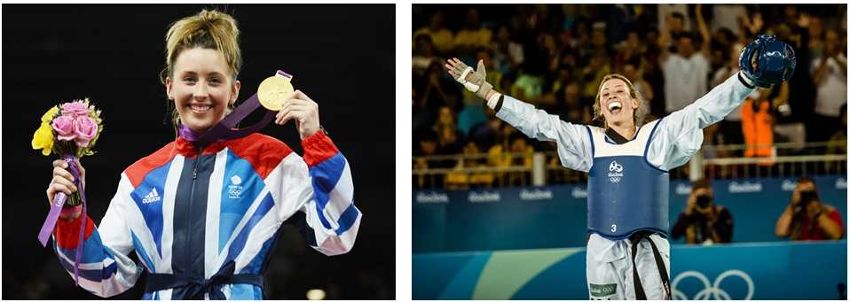 (Left) Jade Jones during the 2012 London Olympics (Right) Jade Jones during 2016 Rio Olympics