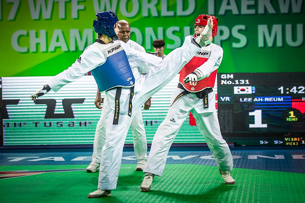 Ah-reum Lee (KOR) vs. Hatice Kubra Ilgun (TUR) during the final match of W-57kg during the 2017 World Taekwondo Championships on June 30