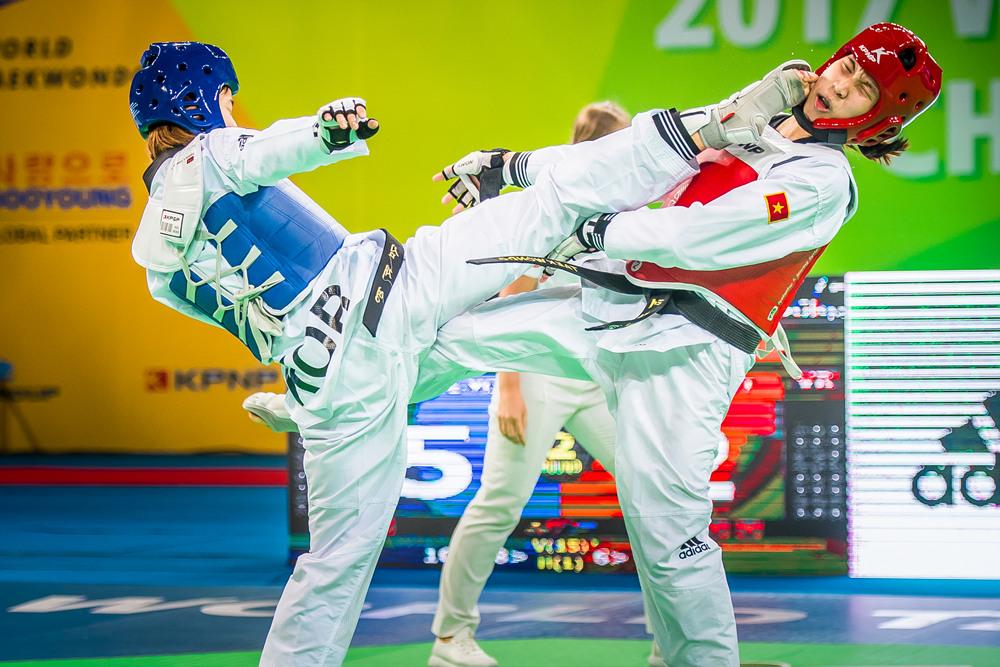 Jae-Young Sim (KOR) vs. Thi Kim Tuyen Truong (VIE) competes during the 2017 World Taekonwdo Championships on June 25