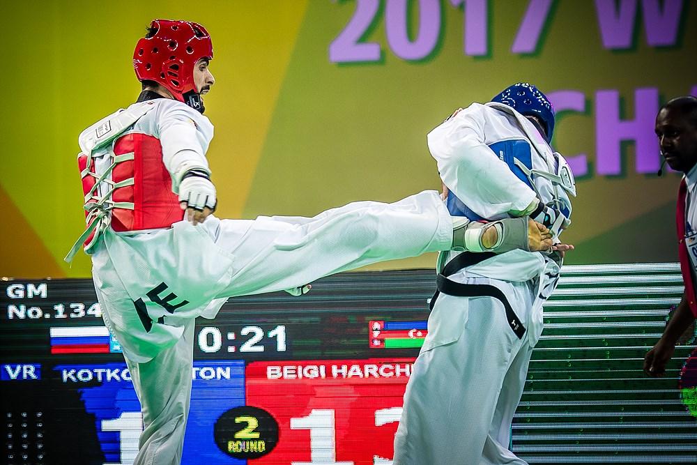 Milad Beigi Harchegani (AZE) vs. Anton Kotkov (RUS) during the final match of M-80kg during the 2017 World Taekwondo Championships on June 30