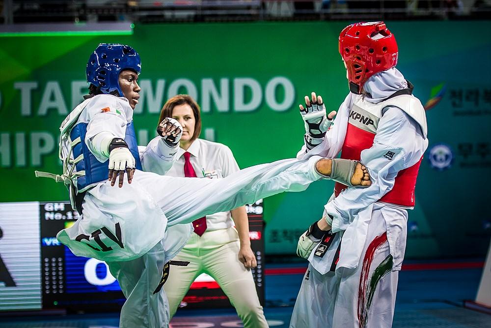 Ruth Gbagbi (CIV) vs. Kimia Alizadeh Zenoorin (IRI) during the final match of W-62kg during the 2017 World Taekwondo Championships on June 30