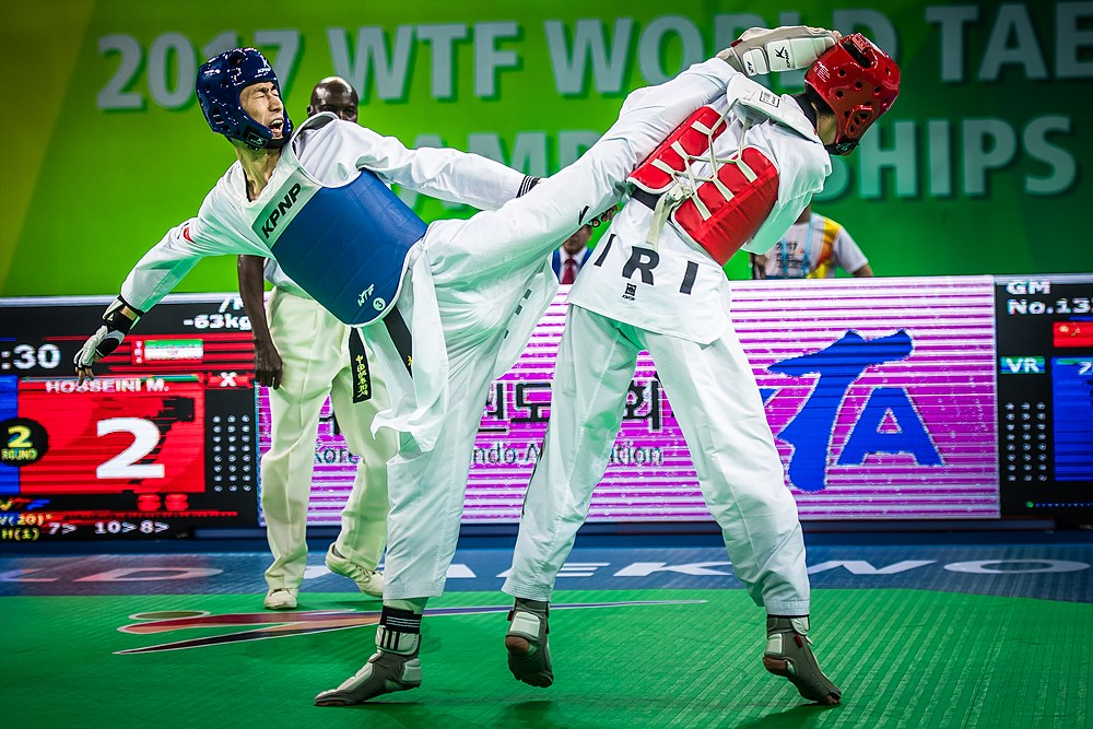 Shuai Zhao (CHN) vs. Mirhashem Hosseini (IRI) during the final match of M-63kg during the 2017 World Taekwondo Championships on June 30