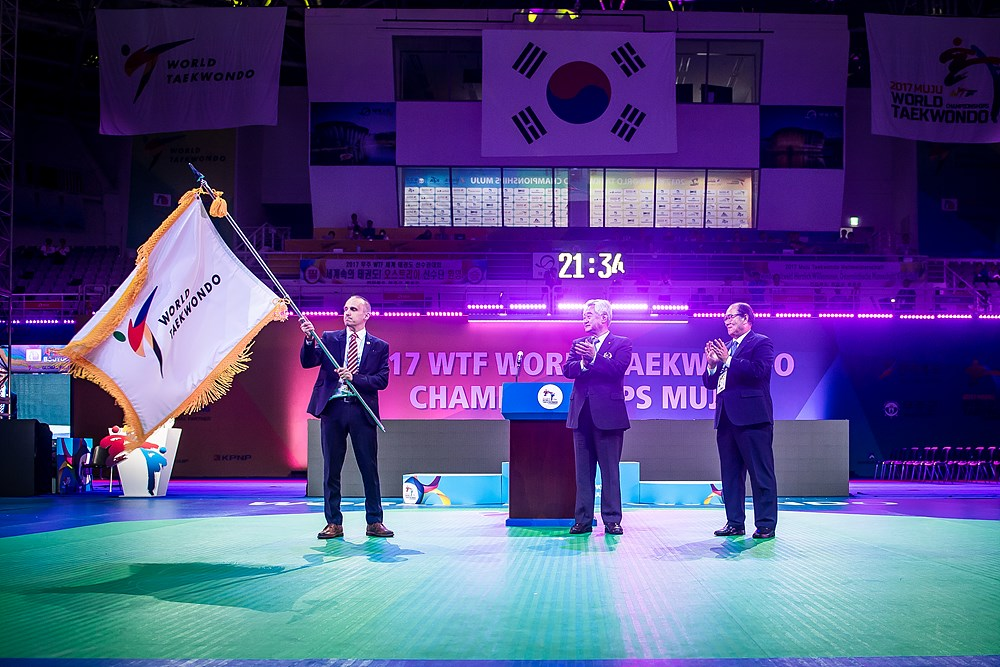 The championship flag handed to a representative from Manchester