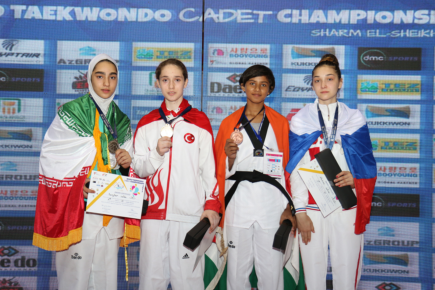 Award ceremony for F -59kg during the Sharm El Sheikh 2017 World Taekwondo Cadet Championships on August 26