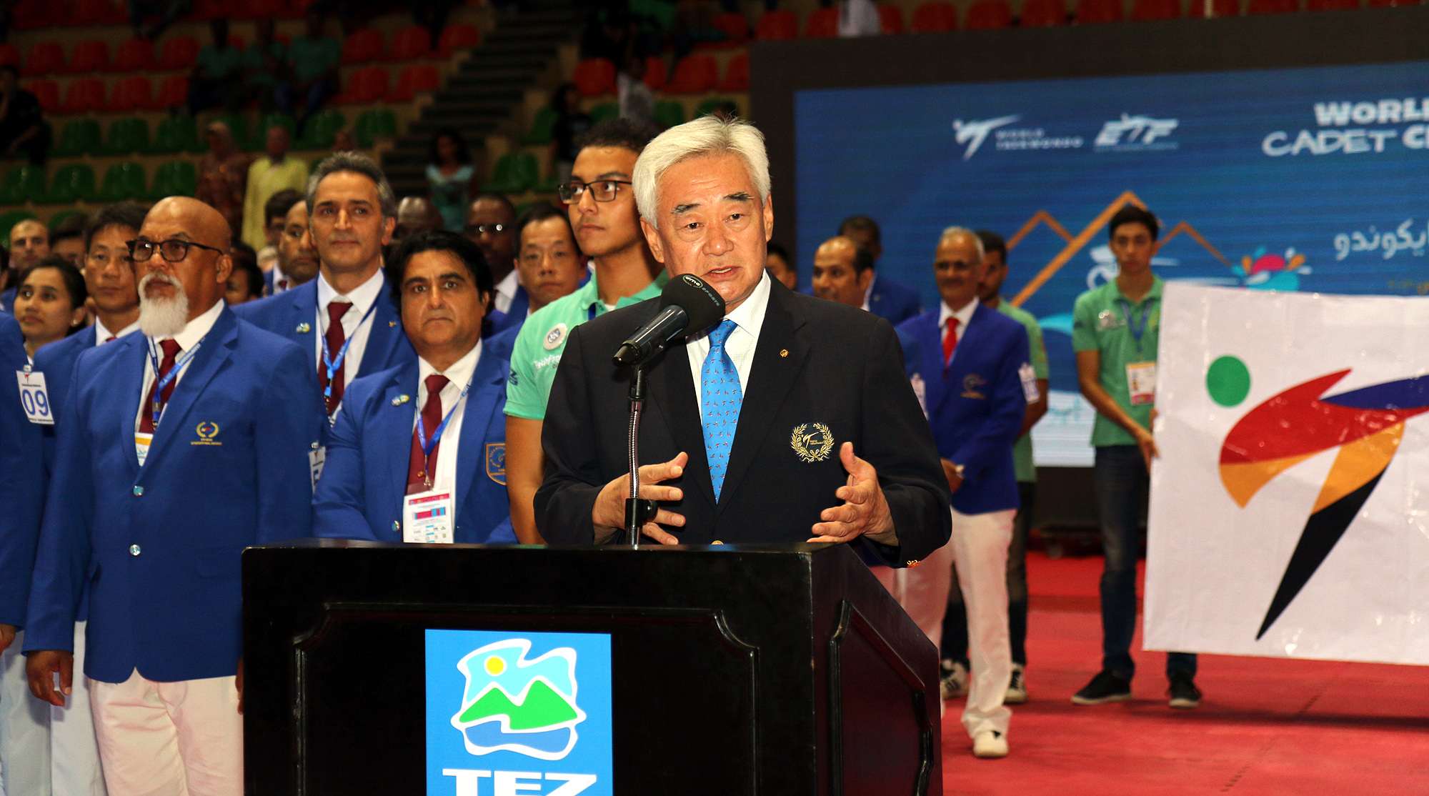 WT President Chungwon Choue gives a speech during the opening ceremony