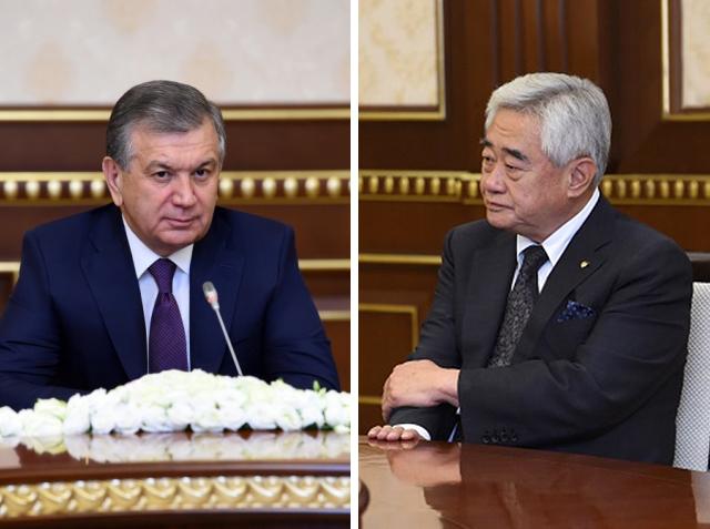 WT President Chungwon Choue meets Uzbekistan President Shavkat Mirziyoyez at the President's Office in Tashkent