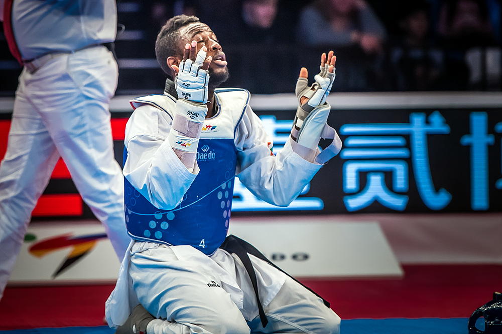 Cheick Sallah Cisse (CIV) after the final match of M-80kg
