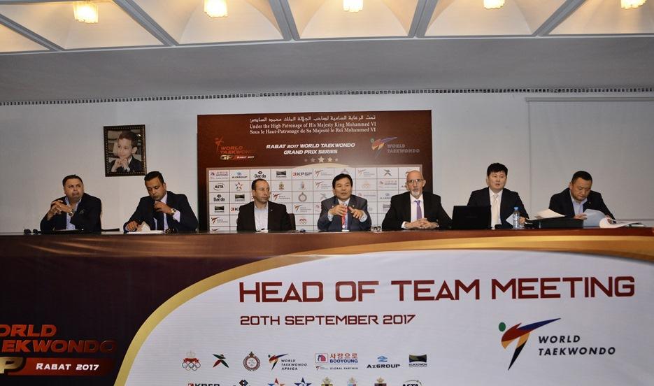 Head of team meeting for the Rabat 2017 World Taekwondo Grand Prix