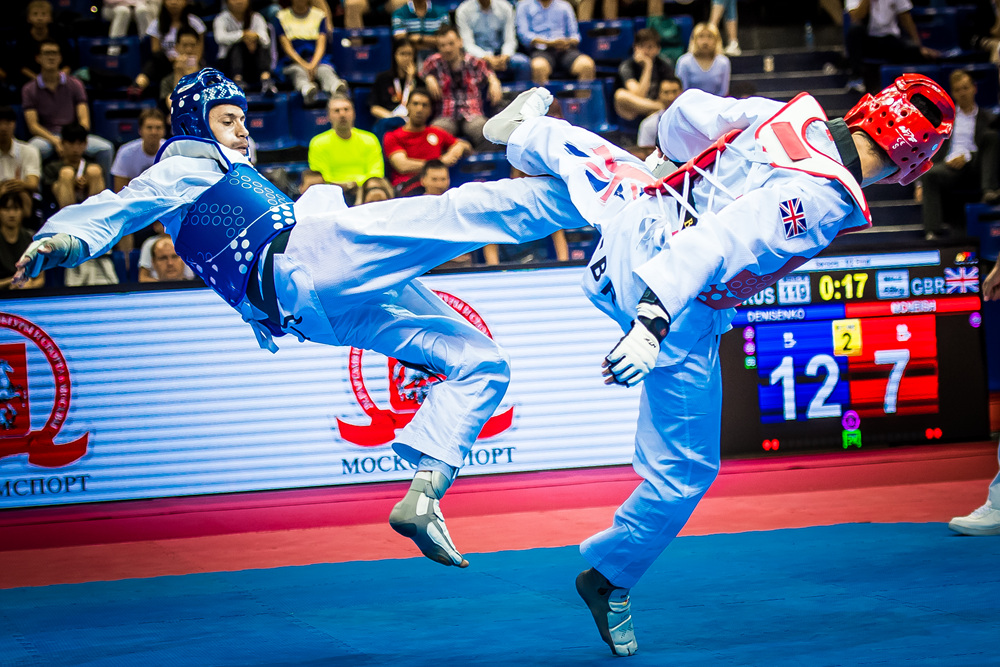 Semi-final match for M-68kg between Alexey Denisenko (RUS) vs. Christian Mcneish (GBR) during the Moscow 2017 World Taekwondo Grand Prix