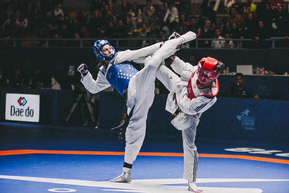 Anastasija Zolotic (USA) vs. Ozoda Sobirjonova (UZB) in the final match of Juniors W-52kg during Hammamet 2018 World Taekwondo Junior Championships