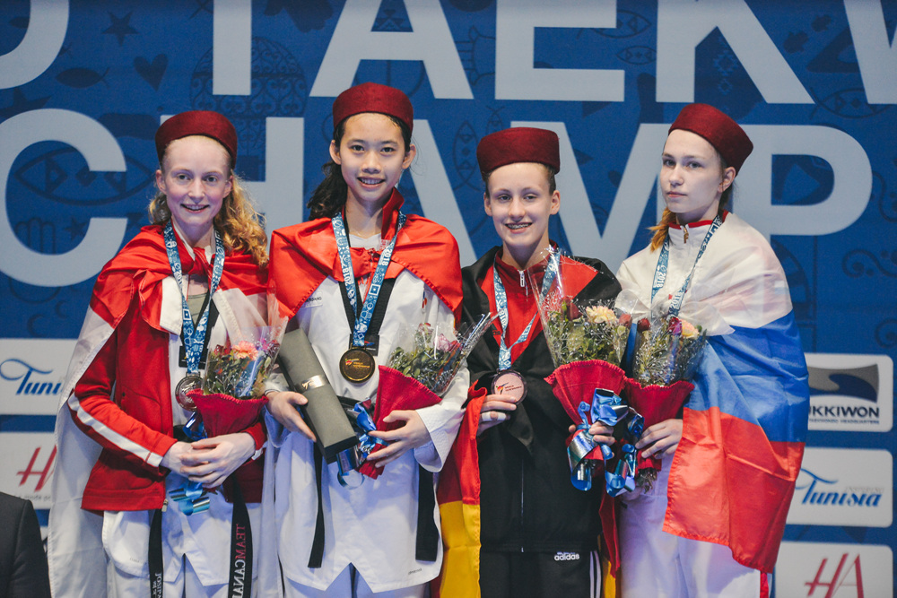 Award ceremony for Juniors W-49kg during Hammamet 2018 World Taekwondo Junior Championships