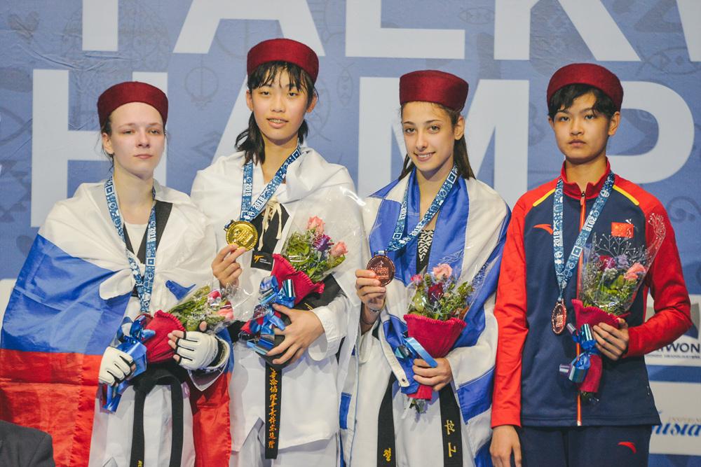 Award ceremony for Juniors W-55kg during Hammamet 2018 World Taekwondo Junior Championships