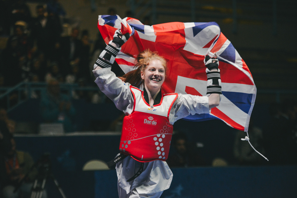 Jordyn Smith (GBR) celebrates after she wins the final match of Junior W-44kg during Hammamet 2018 World Taekwondo Junior Championships