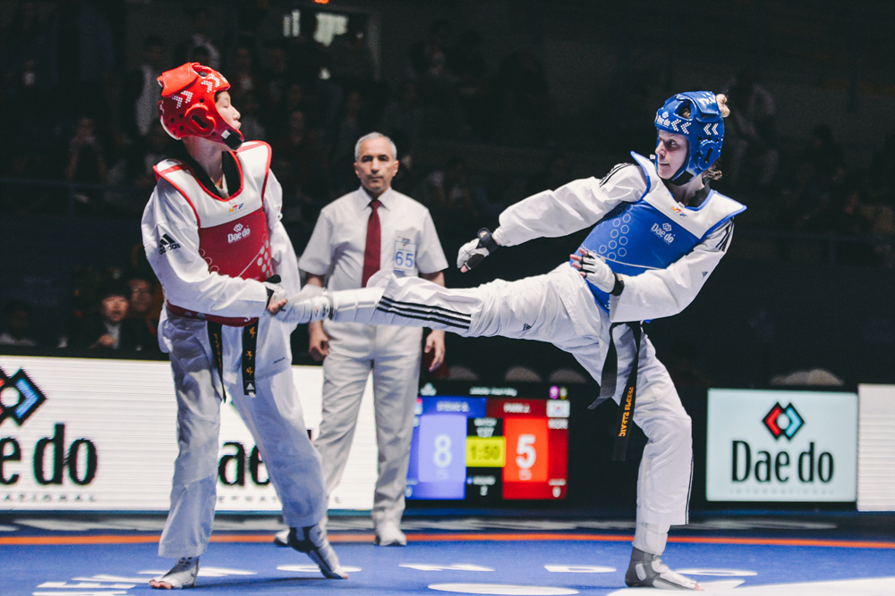Serdja Stevic (SRB) vs. Ju-A Park (KOR) in the final match of Juniors W-59kg during Hammamet 2018 World Taekwondo Junior Championships