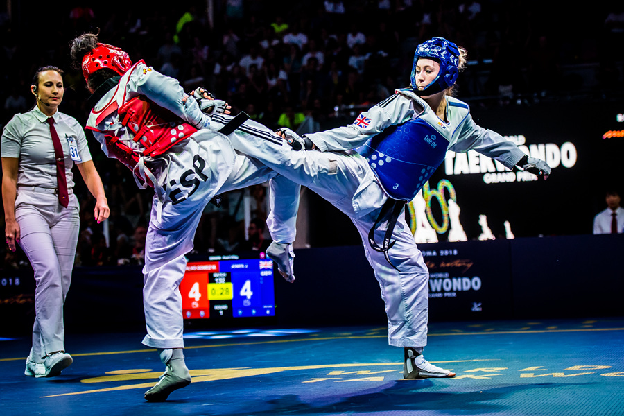 Jade Jones (GBR) vs. Marta Calvo Gomez (ESP) in the final match of W-57kg during the second day of Roma 2018 World Taekwondo Grand-Prix