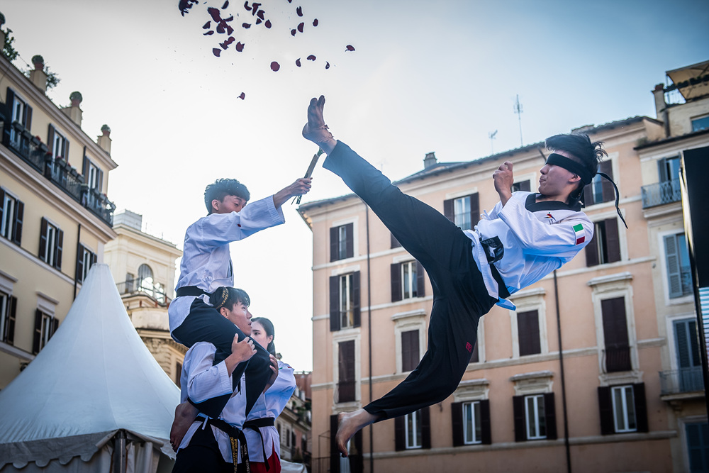 WT Demonstration Team performs at Spanish Steps in Rome, Italy