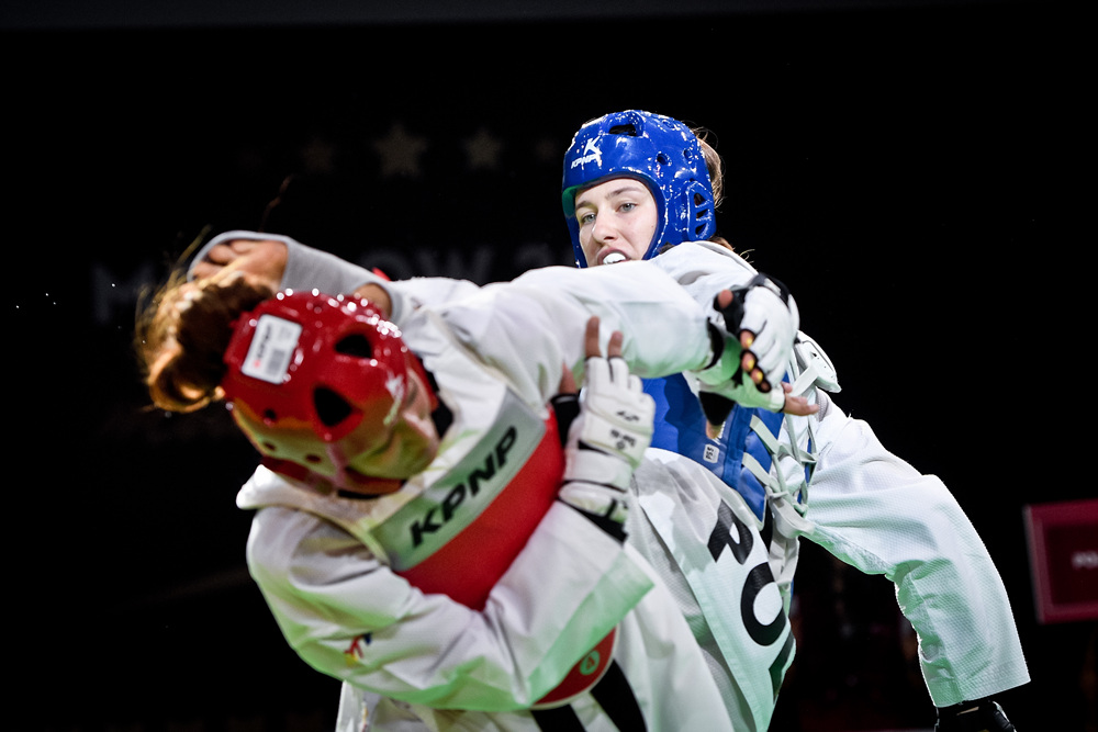 Aleksandra KOWALCZUK (POL) is attacking to opponent at the final match