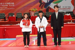 Awarding ceremony of freestyle poomsae MVPs, Taejoo NA (KOR, Right), Adalis MUNOZ (USA, Left) at day 4