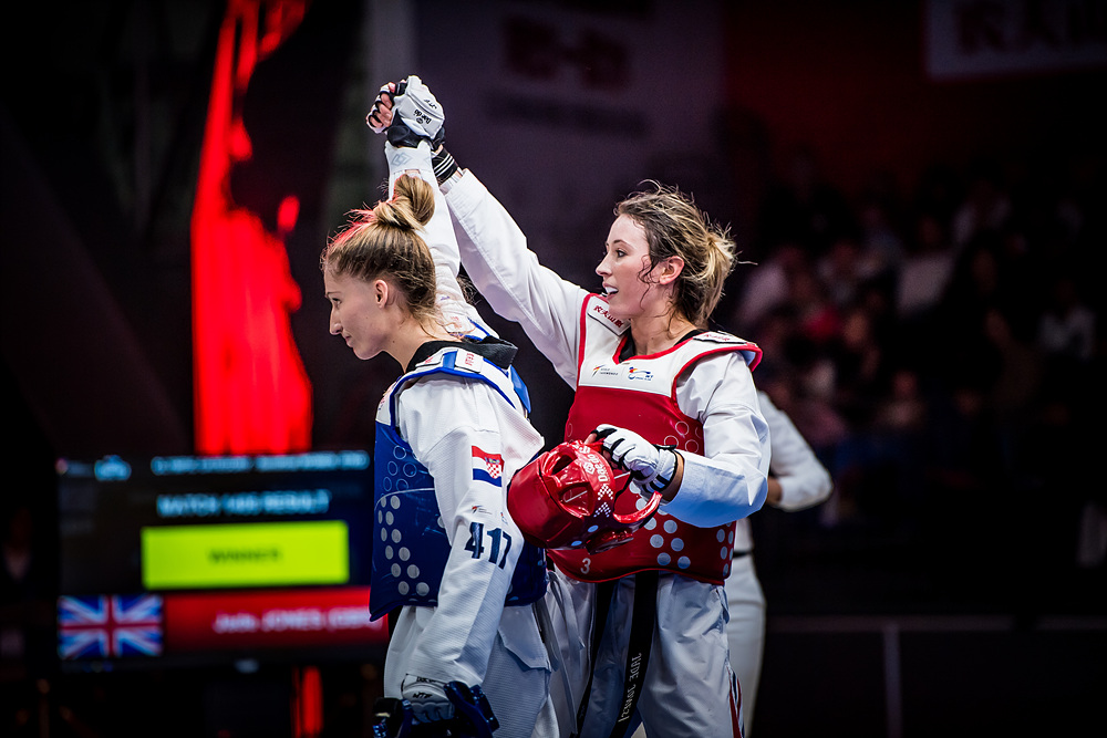 Jade JONES (GBR, right) after winning of semi-final match of F -57kg