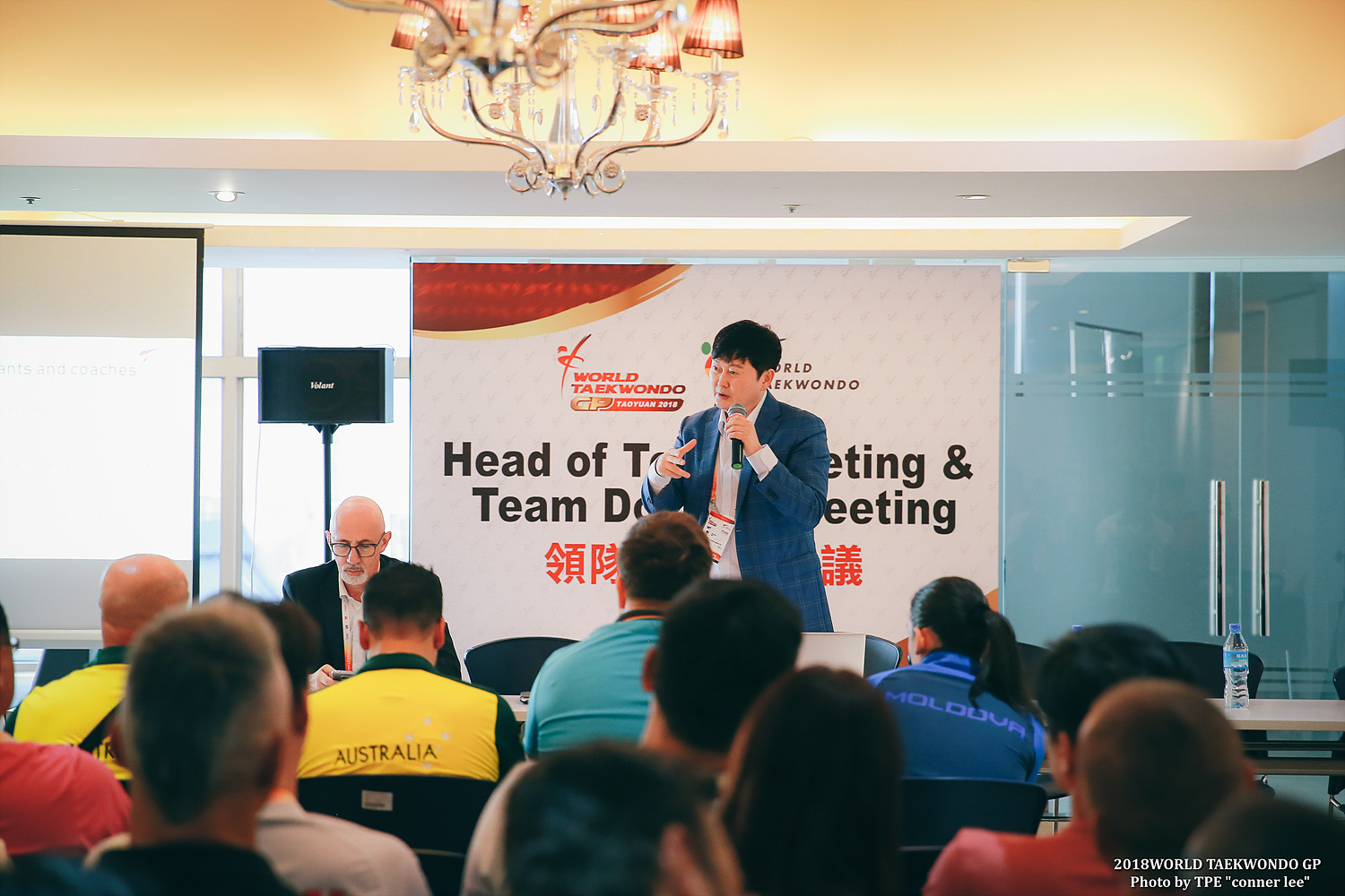 Songchul Kim, Chair of WT Referee Committee address at the Head of Team Meeting during 2018 WT Taoyuan GP
