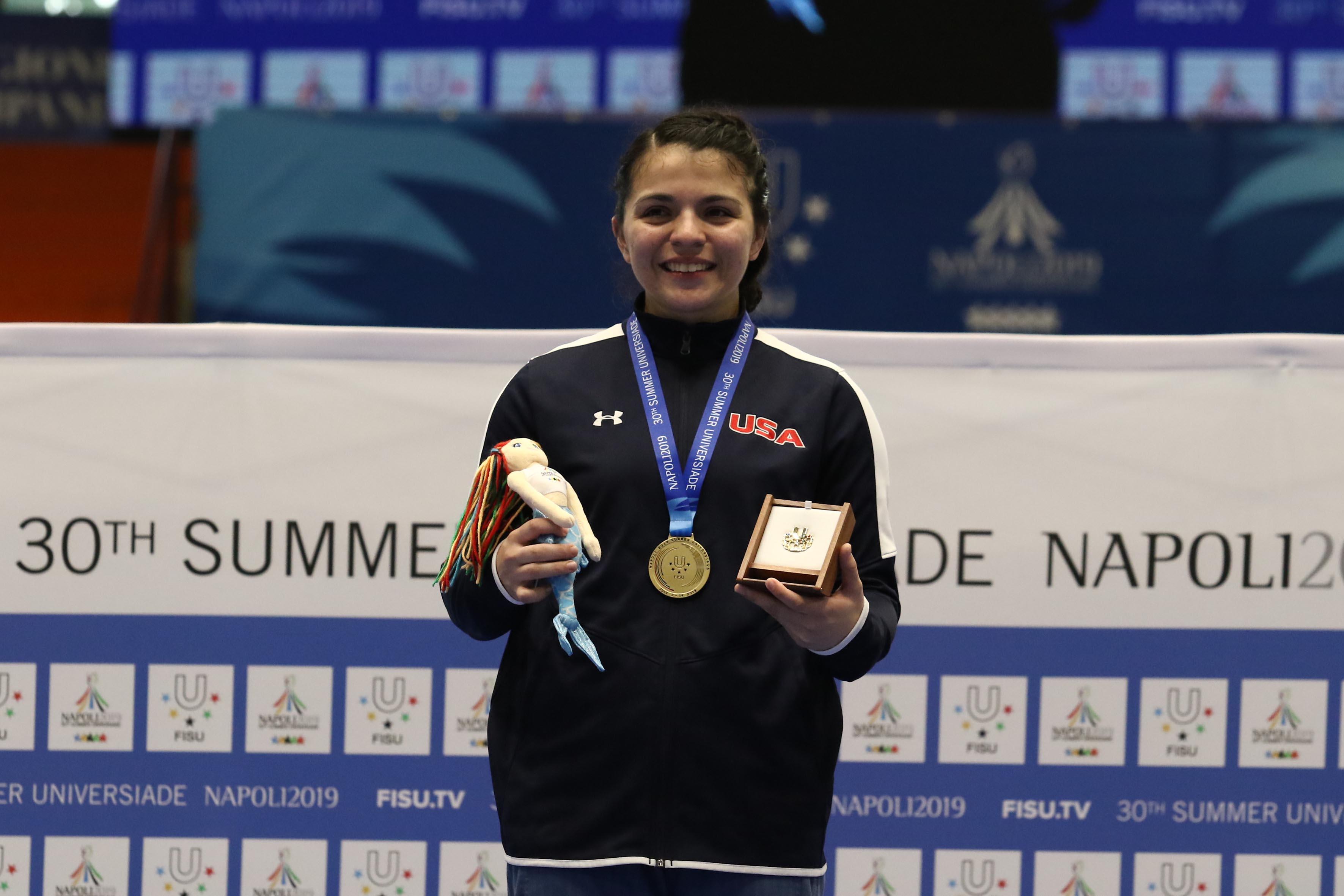 Pala Casoria Premiazione di Taekwondo Munoz Adalis J USA medaglia d'oro , Napoli 7 Luglio 2019 Photo pool fotografi Universiadi