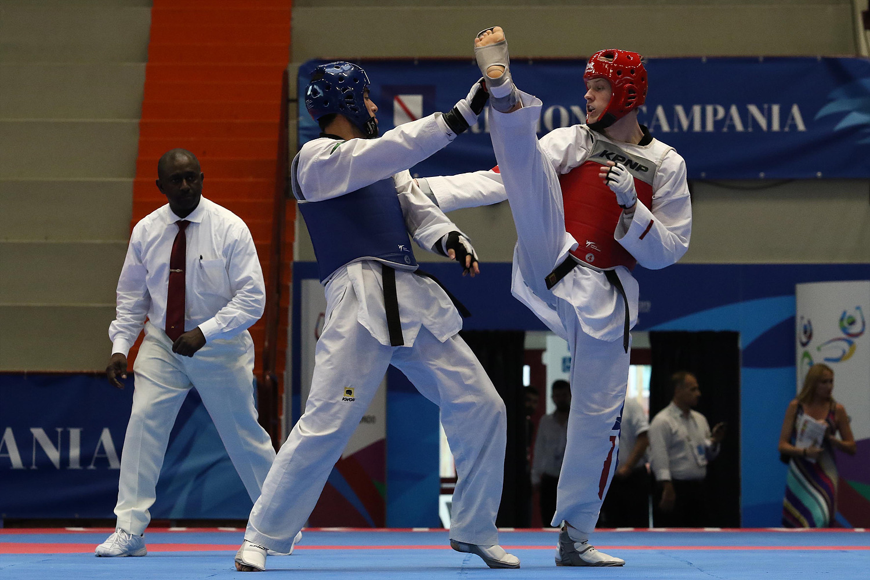 Finali di Taekwondo Bakhshikalhori Amirmohammad IRI (B) v Asp Victor NOR (R), Pala Casoria, Napoli 11 Luglio 2019 PHOTO POOL FOTOGRAFI UNIVERSIADE 2019