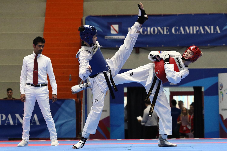 Finali di Taekwondo Yaman Irem TUR (B) v Turutina Iuliia RUS (R), Pala Casoria, Napoli 11 Luglio 2019 PHOTO POOL FOTOGRAFI UNIVERSIADE 2019