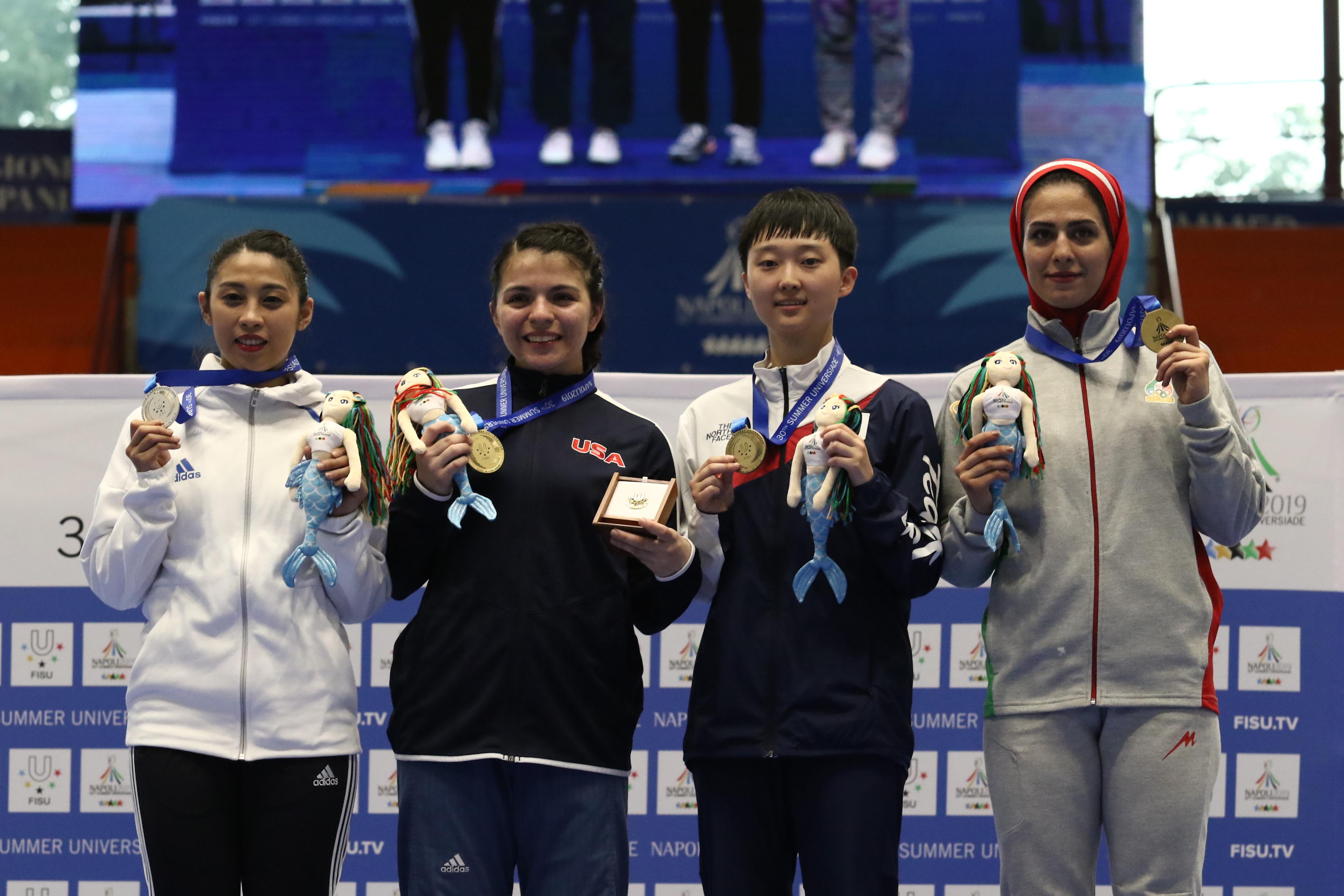 Pala Casoria Premiazione di Taekwondo da sinistra verso destra, Su Chia-En medaglia d'argento, Munoz Adalis J USA medaglia d'oro, un Jihye Korea medaglia di bronzo, Hesam Fatemeh Iran medaglia di bronzo , Napoli 7 Luglio 2019 Photo pool fotografi Universiadi