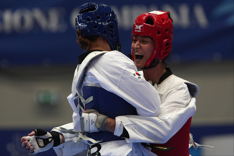 Finali di Taekwondo Yoon Dohee KOR (B) v Kus Nafia TUR (R) , Pala Casoria, Napoli 11 Luglio 2019 PHOTO POOL FOTOGRAFI UNIVERSIADE 2019