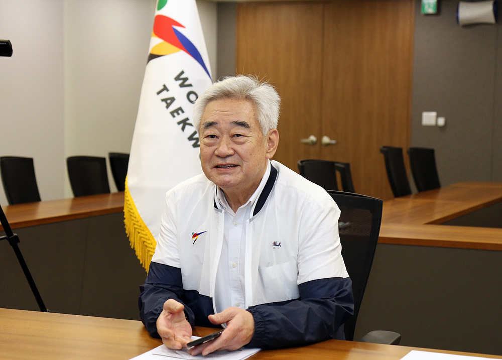 WT President Chungwon Choue during the WT Virtual Extraordinary Council Meeting