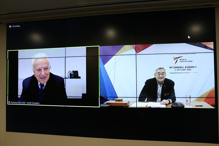 ASOIF President Francesco Ricci Bitti and WT President Chungwon Choue during the virtual WT General Assembly